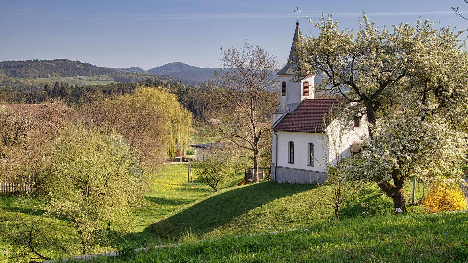 Aichau Kapelle im Fruehling